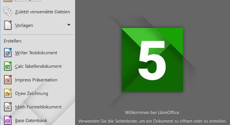 Libre Office 5.0.3 Startbilschirm unter Windows 10 - By The Document Foundation (own screenshot) [LGPL (http://www.gnu.org/copyleft/lgpl.html)], via Wikimedia Commons