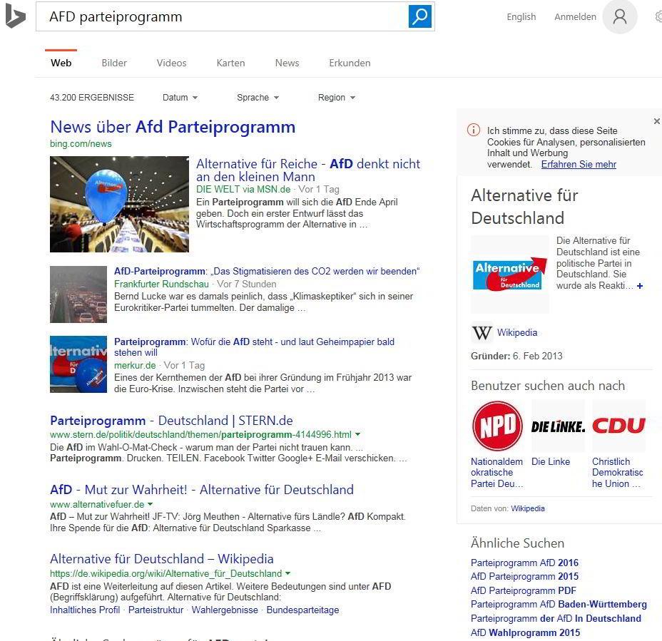 Suche nach dem AFD-Parteiprogramm mit Bing im Internet Explorer