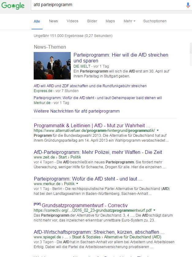 Suche nach dem AFD-Parteiprogramm in der Google-Suche mit dem Google Chrome