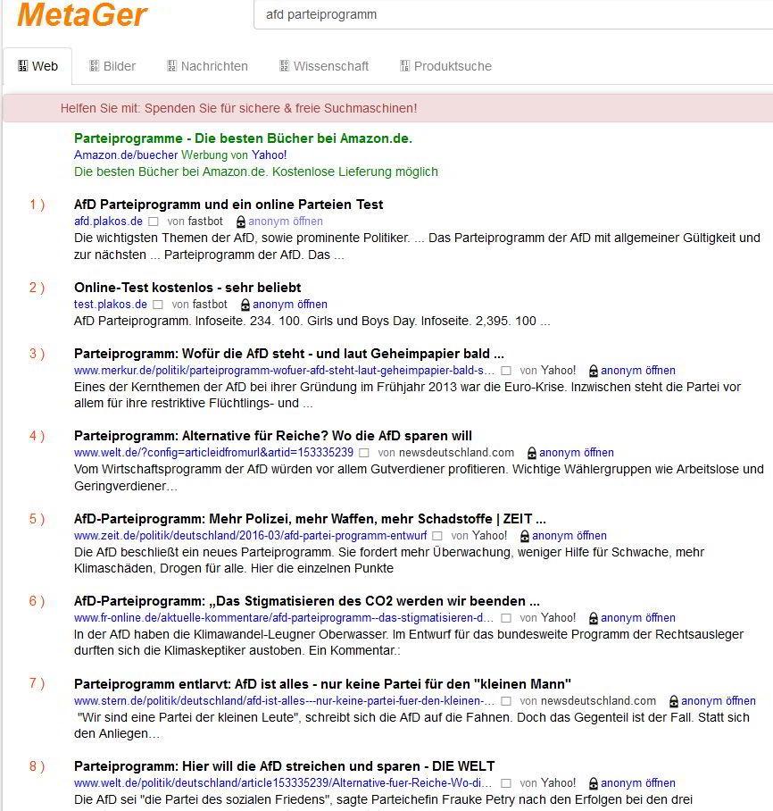 Suche nach dem AFD Parteiprogramm über die Suchmaschine MetaGER aus Hannover mit einem zugenagelten Firefox
