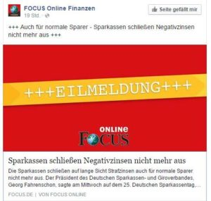 FOCUS Eilmeldung zur Sparkasse - Quelle: Facebook