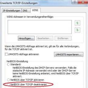WINS-Einstellungen mit deaktiviertem NetBIOS