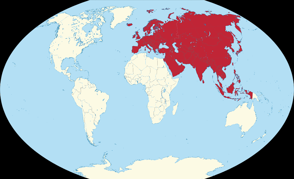 Lage von Eurasien - By TUBS [CC BY-SA 3.0 (http://creativecommons.org/licenses/by-sa/3.0) or GFDL (http://www.gnu.org/copyleft/fdl.html)], via Wikimedia Commons