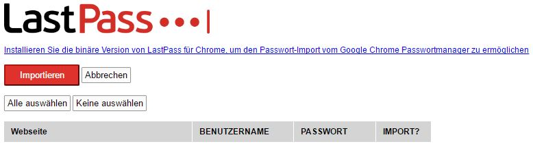 LastPass - Passwörter im Chrome importieren