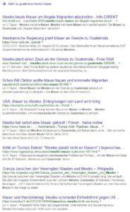 "Screenshot aus der Google-Suche zum Thema ""Mexiko Guatemala Mauer"""