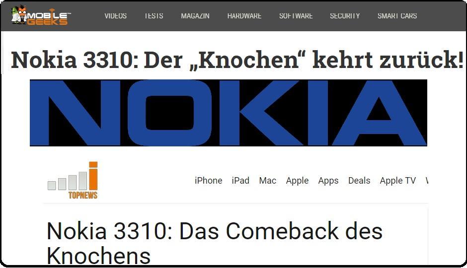 NOKIA - Montage aus Screenshots von Mobilegeeks.de und iTopNews.de, sowie Logo der NOKIA Corportation, Public Domain via Wikimedia Commmons