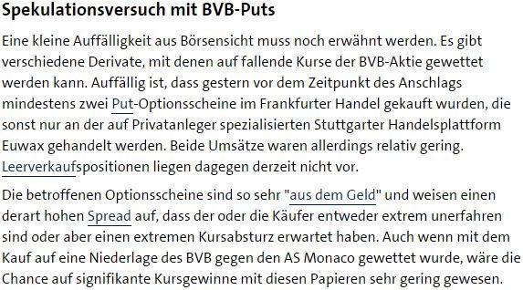 Screenshot des Artikels der Börsenredaktion der ARD nach dem Anschlag auf die Mannschaft des BVB