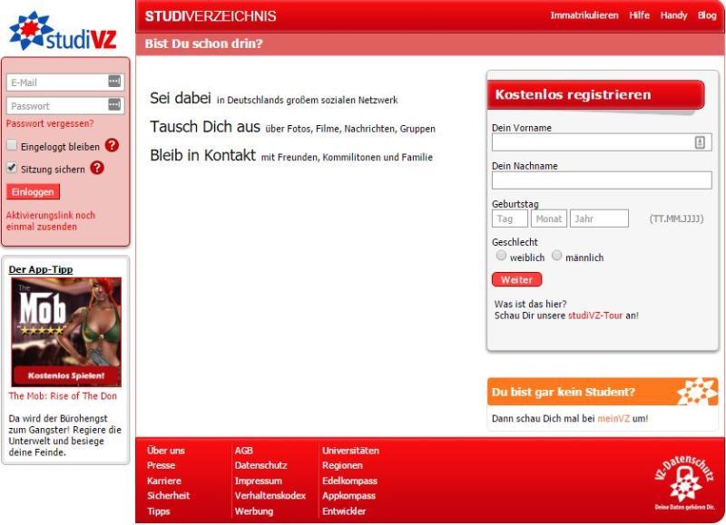 StudiVZ - Screenshot von der Webseite www.studivz.net