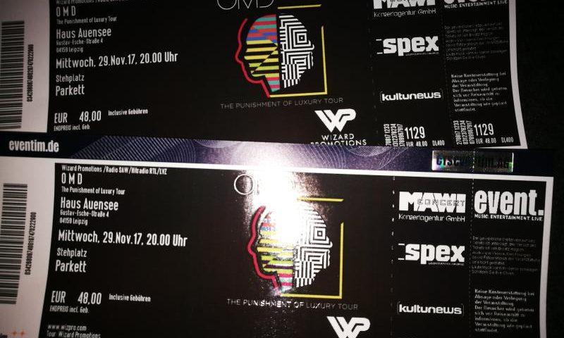"""Die Eintrittskarten für """"The PUnishment of Luxury"""" von OMD in Leipzig"""