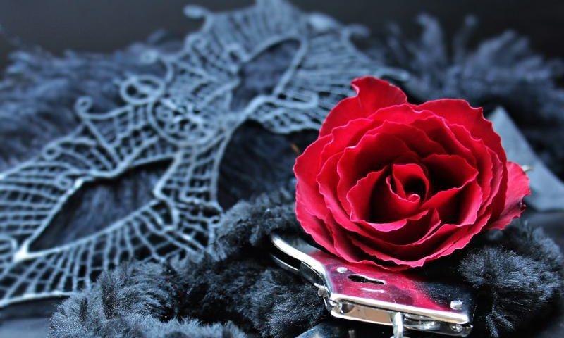 Versuchung - (C) pixel2013 - CC0 via Pixabay.com - https://pixabay.com/de/maske-handschellen-rosen-rote-rosen-2095341/