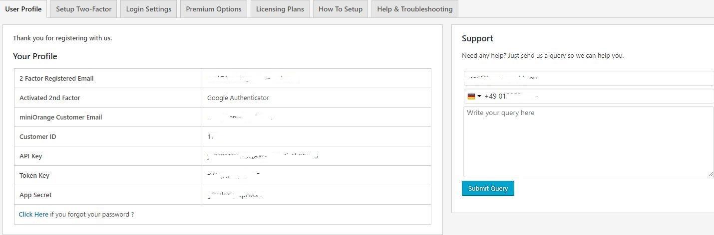 Profilinformationen des Nutzers in den Einstelungen zu miniOrange Google Authenticator