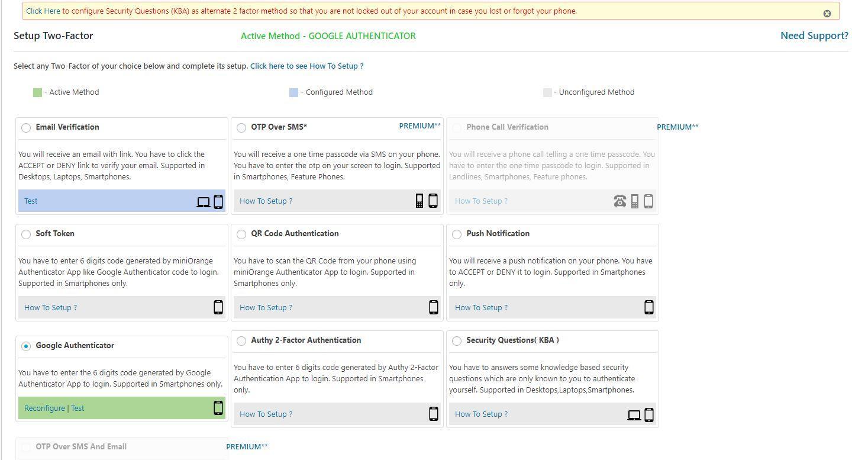 Die 2-Faktor-Einstellungen im miniOrange Google Authenticator