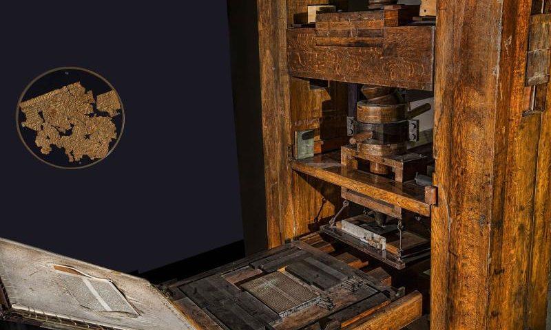 Gutenberg-Druckerpresse - (C) Patrice_Audet CC0 via Pixabay.com - https://pixabay.com/de/presse-gutenberg-druckerei-papier-552026/