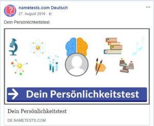 Persönlichkeitstests von nametests.com stehen im Verdacht, missbraucht worden zu sein, um Daten auszuspionieren - Screenshot