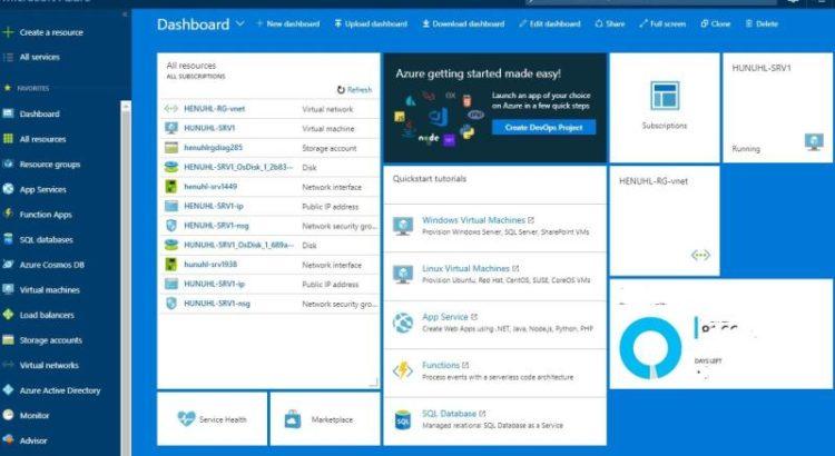 Das Dashboard von Microsoft Azure