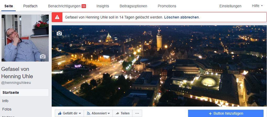 """Die Facebook Fanpage """"Gefasel von Henning Uhle"""" wird gelöscht"""