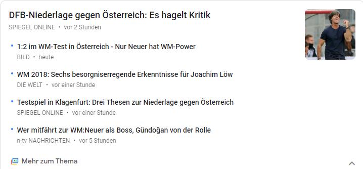 Deutsche Fußball-Nationalmannschaft im Testspiel gegen Österreich - Screenshot aus Google News