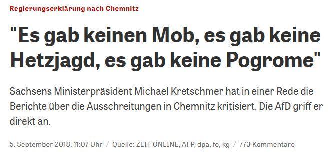 """Die Überschrift der """"ZEIT"""" lässt vermuten, Michael Kretschmer hätte nichts anderes gesagt, als dass es in Chemnitz keinen Mob gab"""