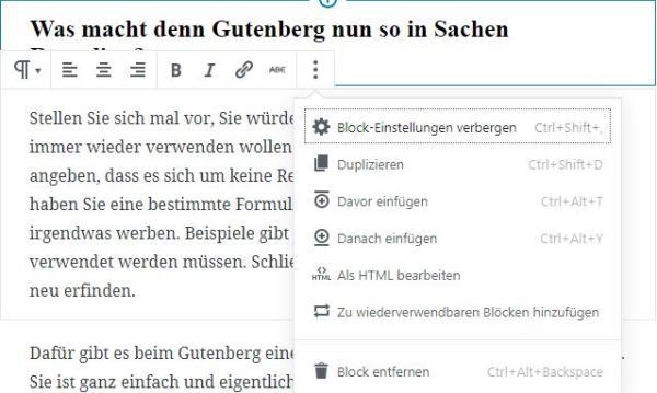 Die Block-Optionen im Gutenberg-Editor