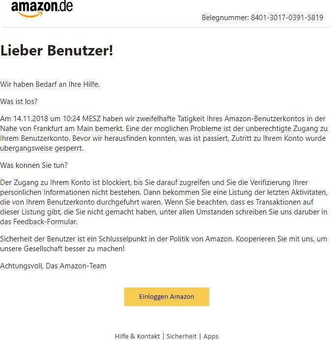 Amazon: Neue Phishing-Masche ist schlecht gemacht