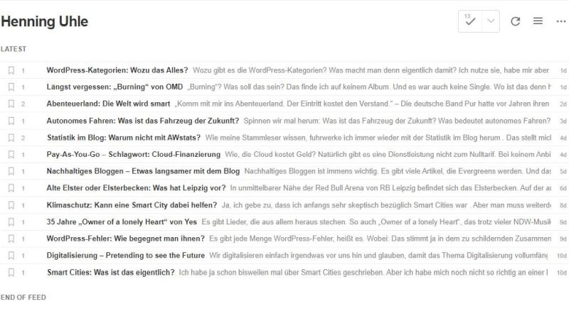 Mein Blog im RSS-Feedreader Feedly