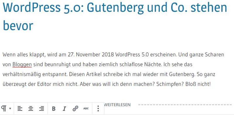 WordPress 5.0: Gutenberg und Co. stehen bevor