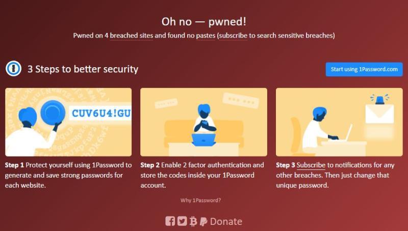"""Screenshot von """"Have I been pwned"""" mit einer betroffenen Email-Adresse"""