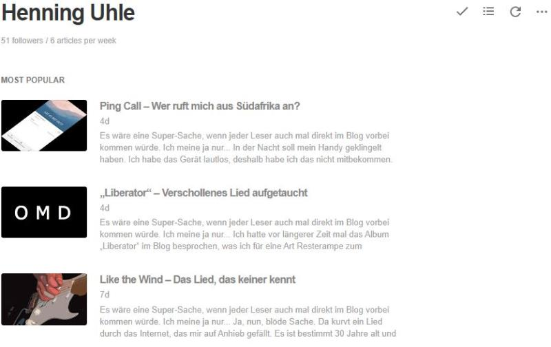 Mein RSS-Feed in Feedly