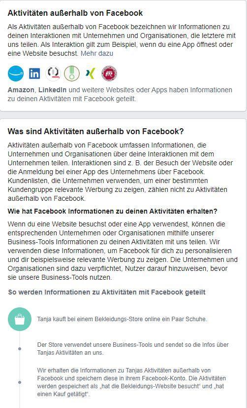 Hier sind die Facebook-Aktivitäten außerhalb der Plattform erklärt