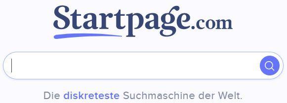 Die Startseite von Startpage.com - Klickt auf das Bild, um dorthin zu kommen