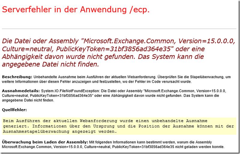Fehler beim Öffnen der EAC auf einem Exchange Server