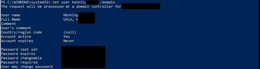 """Mit """"net user"""" das Windows-Passwortalter ermitteln"""