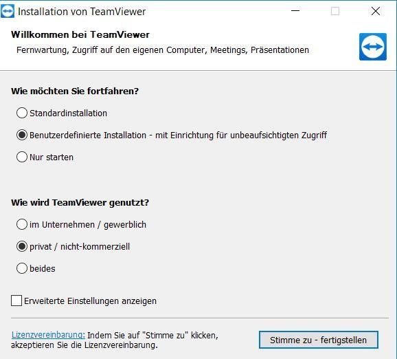 Den TeamViewer installert man gleich so, dass wir ihn nicht kommerziell nutzen