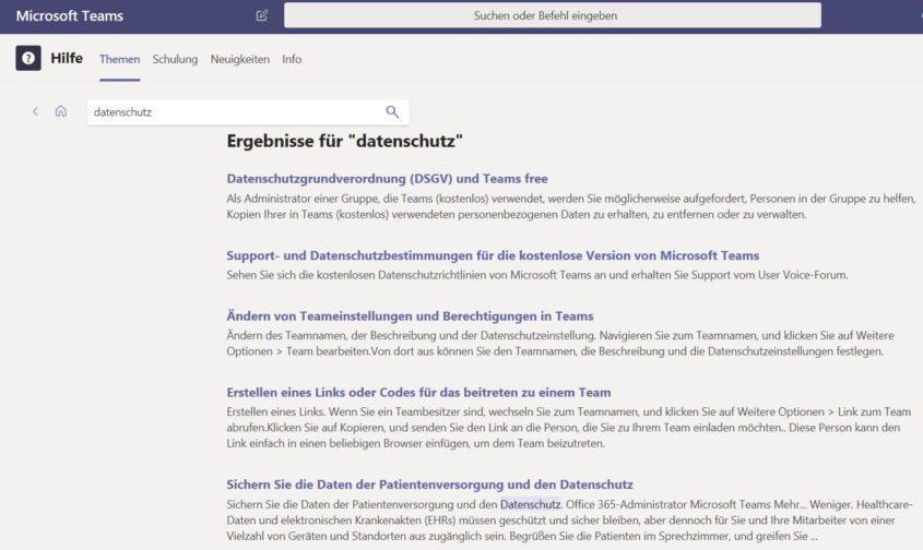 """Microsoft Teams: In der Hilfe nach """"datenschutz"""" gesucht (Klick zum Vergrößern)"""