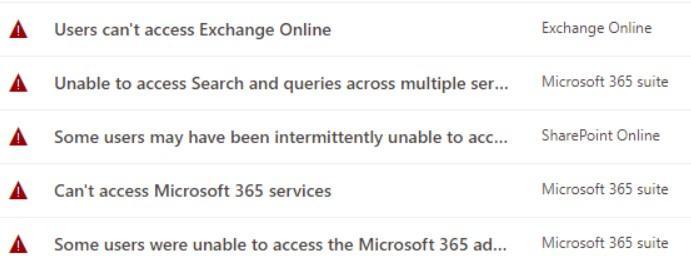 """Die letzten Fehler aus der so genannten """"Service Health"""" im Microsoft 365 Admin Center"""