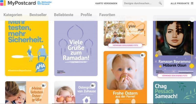 MyPostcard: #ZusammenGegenCorona? - Screenshot von MyPostcard