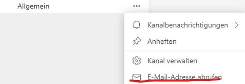 Jeder Teams Channel hat seine Mail-Adresse